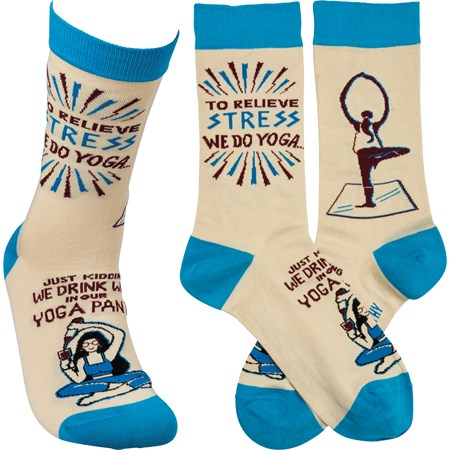Socks - Drink Wine In Our Yoga Pants - One Size Fits Most - Cotton, Nylon, Spandex