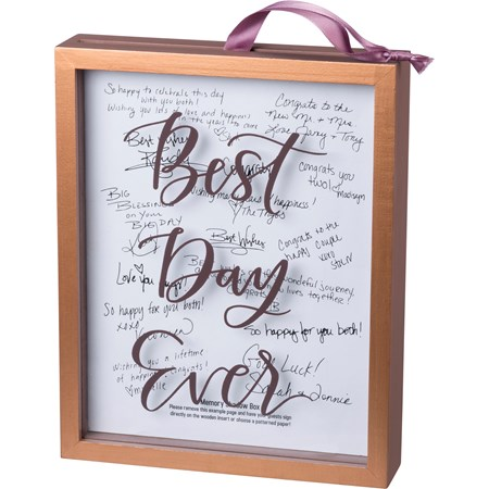 "Memory Box - Best Day Ever - 8"" x 10"" x 1.75"" - Wood, Glass, Ribbon"