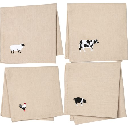 "Napkin Set - Animals - 15"" x 15"" - Cotton, Linen"