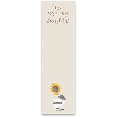 "List Notepad - You Are My Sunshine - 2.75"" x 9.50"" x 0.25"" - Paper, Magnet"
