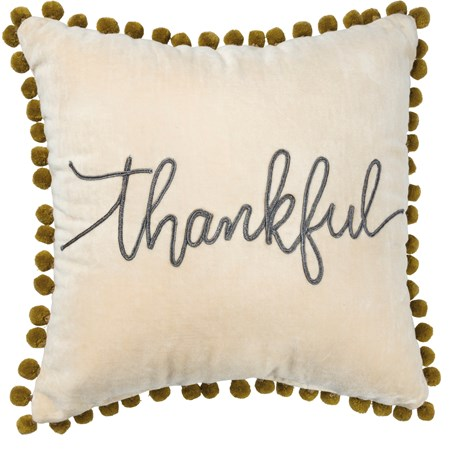 "Pillow - Thankful - 14"" x 14"" - Velvet"
