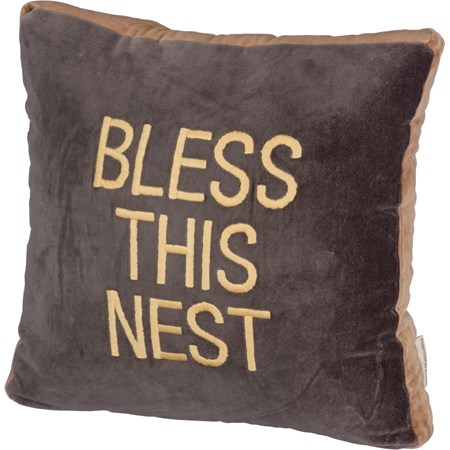 "Pillow - Bless This - 16"" x 16"" - Velvet"