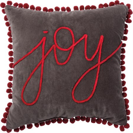 "Pillow - Joy - 18"" x 18"" - Velvet, Zipper"