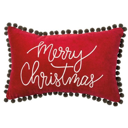 "Pillow - Merry Christmas - 19"" x 12""  - Velvet, Zipper"