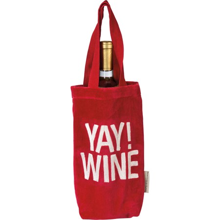 "Wine Bag - Yay Wine - 6.50"" x 11"" x 1.75"", 7"" Handle Drop - Velvet"