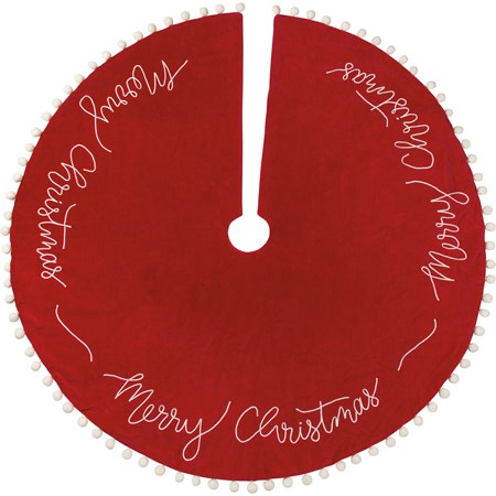 "Tree Skirt - Merry Christmas - 52"" Diameter - Velvet, Cotton"