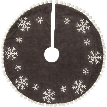 "Tree Skirt - Snowflakes - 24"" Diameter - Velvet, Cotton"