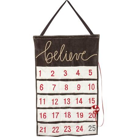 "Wall Countdown - Believe - 18"" x 28""  - Velvet, Cotton, Wood, Ribbon"