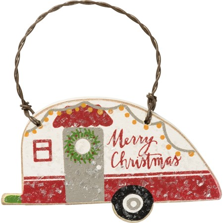 "Ornament Set - Merry Christmas, Home For Holidays - 2.50"" x 1.50"", 2.50"" x 1.50"" - Wood, Wire, Mica"