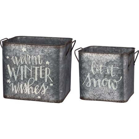 "Bin Set - Let It Snow, Warm Winter Wishes - 9.25"" x 8.25"" x 7.75"", 6.25"" x 7.50"" x 6.50"" - Metal"