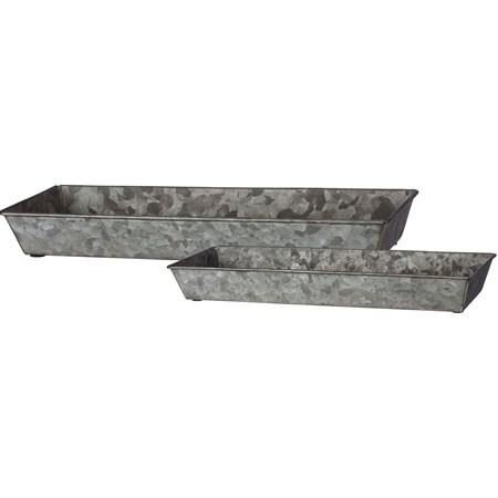 "Tray Set - Rectangular Galvanized - 14.25"" x 5.25"" x 1.75"", 12"" x 4.50"" x 1.50"" - Metal"
