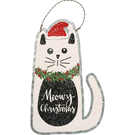 "Ornament - Meowy Christmas - 5.25"" x 8"" - Metal, Wire, Mica"