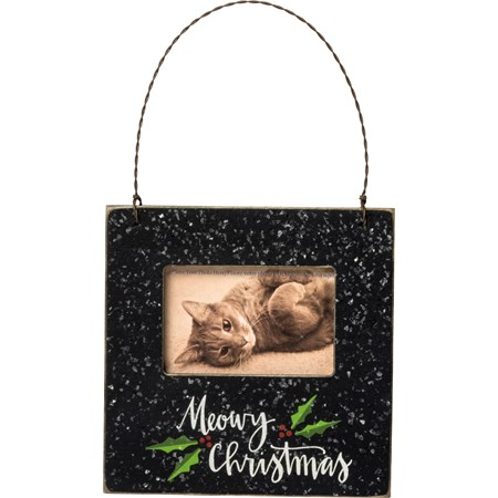 "Mini Frame - Meowy Christmas - 4.50"" x 4.50"" x 0.25"", Fits 3"" x 2"" Photo - Wood, Plastic, Wire, Magnet, Mica"