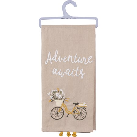 "Dish Towel - Adventure Awaits - 20"" x 26"" - Cotton, Linen"