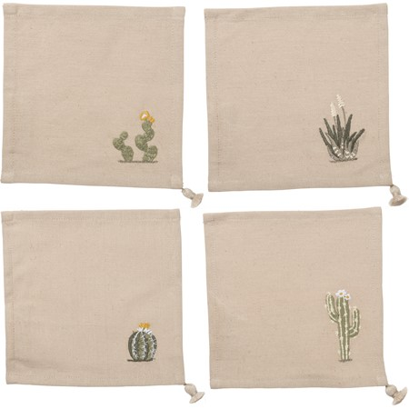 "Cocktail Napkin Set - Cacti - 6"" x 6"" - Cotton, Linen"