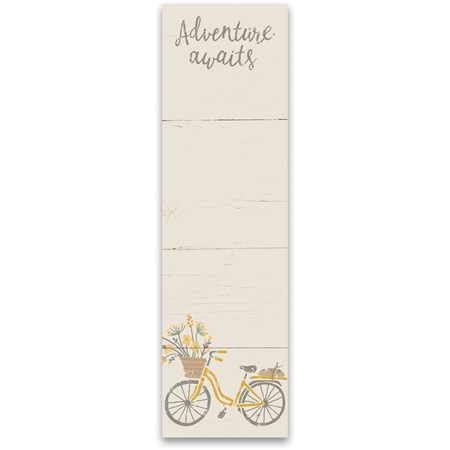 "List Notepad - Adventure Awaits - 2.75"" x 9.50"" x 0.25"" - Paper, Magnet"
