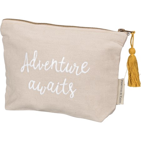 "Zipper Pouch - Adventure Awaits - 9.75"" x 6.50"" x 2"" - Cotton, Linen, Metal"