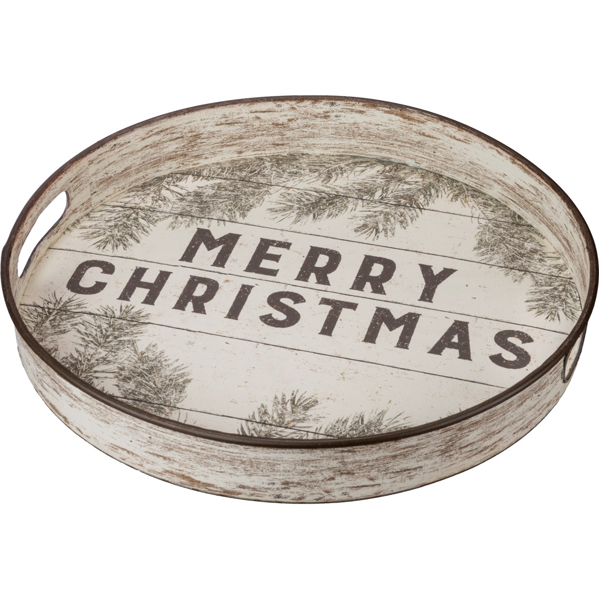 "Tray - Merry Christmas - 12.50"" Diameter x 2"" - Metal, Paper"