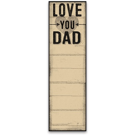 "List Notepad - Love You Dad - 2.75"" x 9.50"" x 0.25"" - Paper, Magnet"