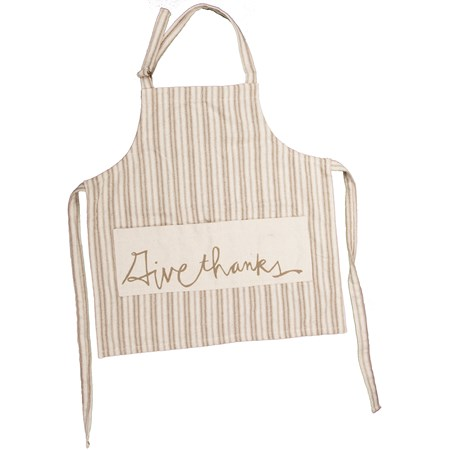 "Apron - Give Thanks - 27.50"" x 28"" - Cotton, Polyester"