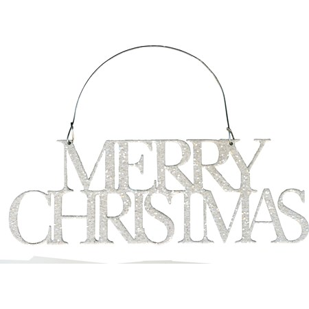 "Ornament - Merry Christmas - 7"" x 2.50"" - Metal, Wire, Glitter"