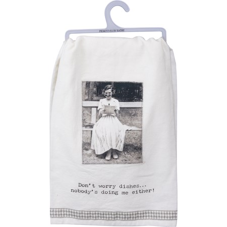 "Dish Towel - Don't Worry Dishes - 28"" x 28"" - Cotton"