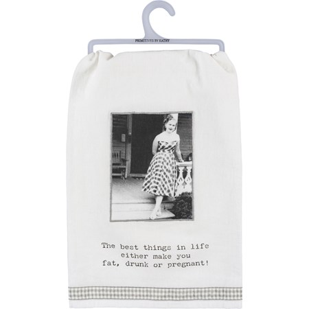 "Dish Towel - Best Things In Life Make You… - 28"" x 28"" - Cotton"