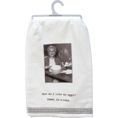"Dish Towel - I Like My Eggs In A Cake - 28"" x 28"" - Cotton"