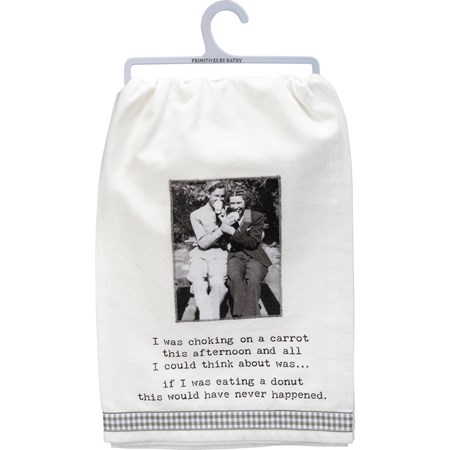 "Dish Towel - I Was Choking On A Carrot - 28"" x 28"" - Cotton"