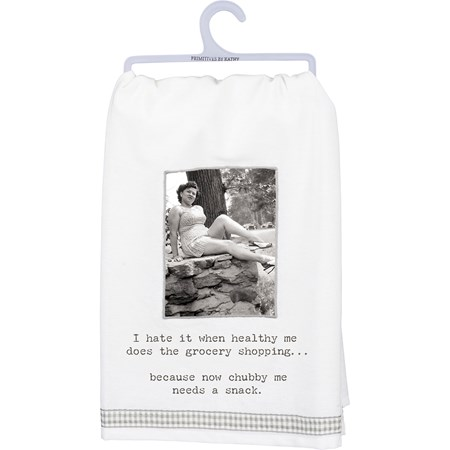 "Dish Towel - Needs A Snack - 28"" x 28"" - Cotton"