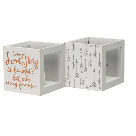 "Candle Box - Love Story - 4.25"" x 4.25"" x 4.25"" - Wood, Glass, Wax"