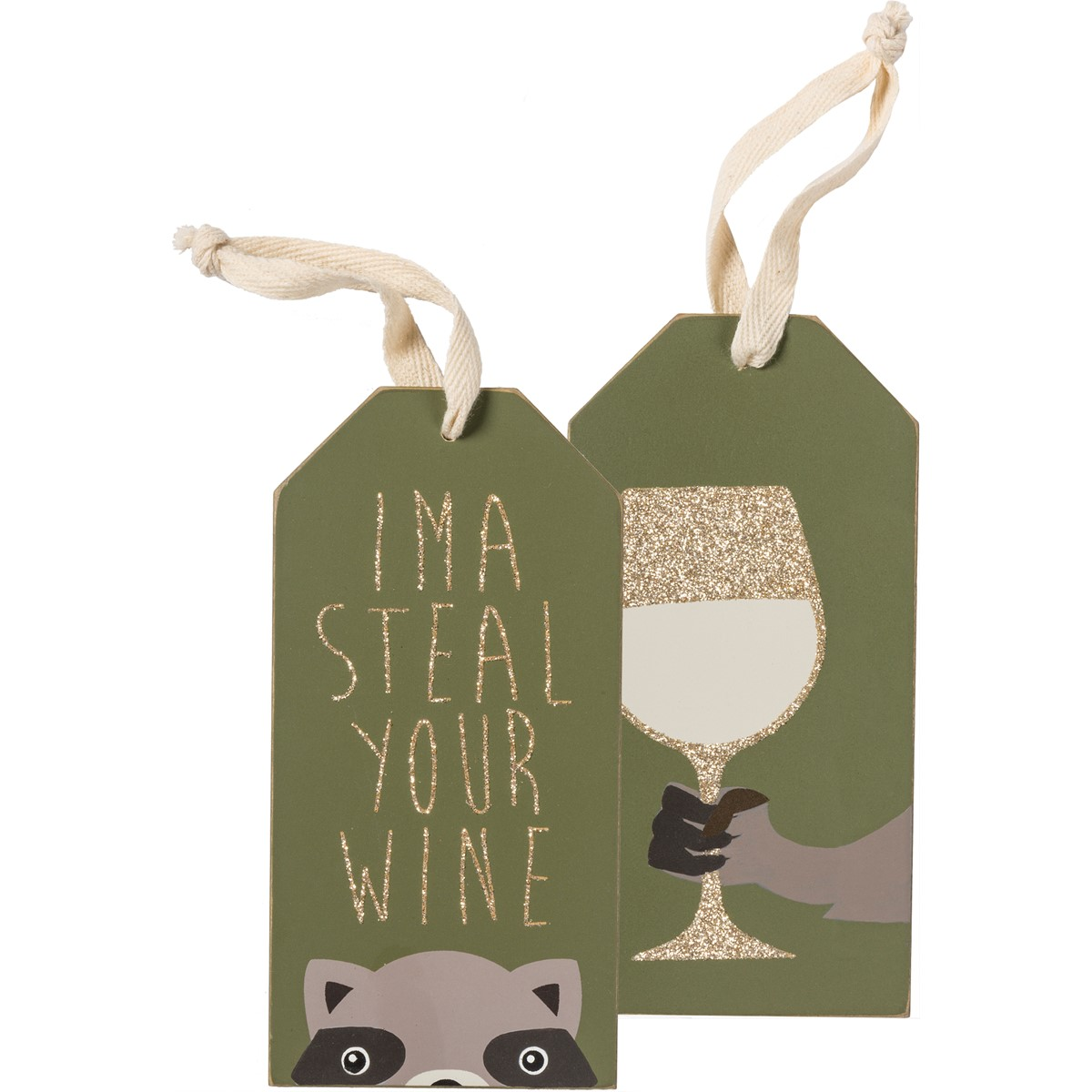 "Bottle Tag - Steal Wine  - 3"" x 6""  - Wood, Glitter, Cotton"