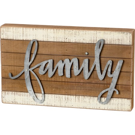 "Slat Box Sign - Family - 15"" x 9"" x 1.75"" - Wood, Metal"