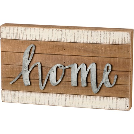 "Slat Box Sign - Home - 15"" x 9"" x 1.75"" - Wood, Metal"