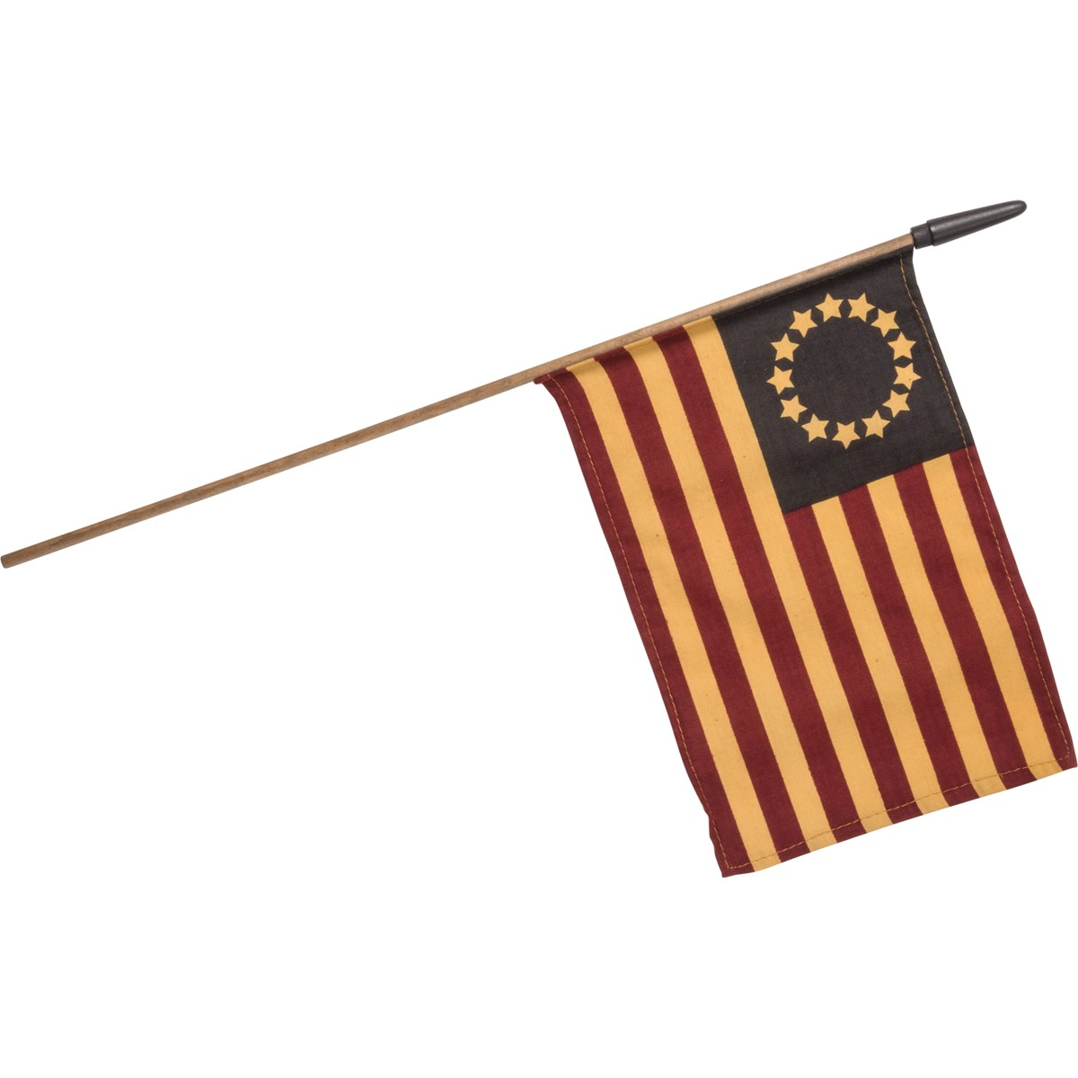 "Primitive Betsy Ross Flag - 10.50"" x 7"", Stick: 18.25"" - Fabric, Wood"