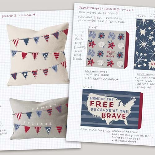 Patriotic Fresh Linen and Blockprint Collections by Cathy Heck Studio - Primitives by Kathy